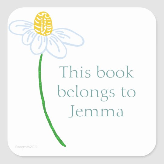 Daisy bookplate square sticker