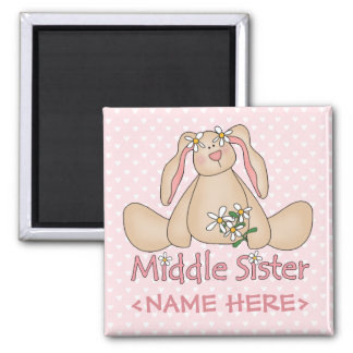 Daisy Bunny Middle Sister Square Magnet