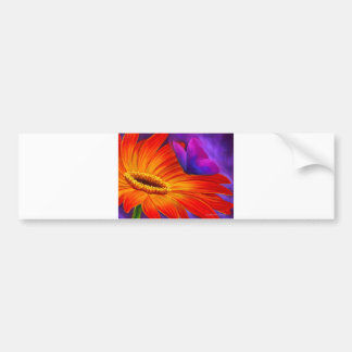 DAISY & BUTTERFLY ART PAINTING - MULTI BUMPER STICKER