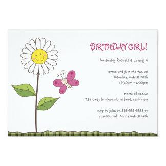 Daisy & Butterfly Girls Birthday Party Invitation