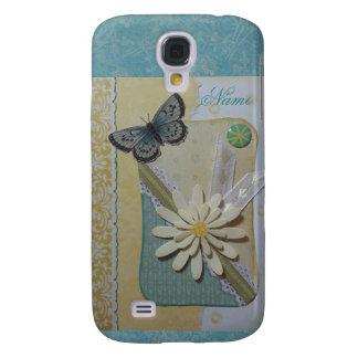 Daisy & butterfly on teal/yellow galaxy s4 case