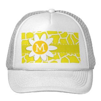 Daisy; Canary Yellow Giraffe Animal Print Trucker Hat