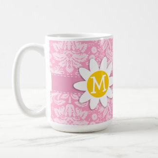 Daisy; Carnation Pink Damask Pattern Coffee Mugs
