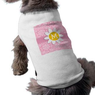 Daisy; Carnation Pink Damask Pattern Sleeveless Dog Shirt