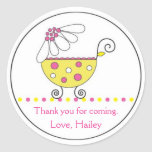 Daisy Carriage Baby Invitation or Favour Sticker