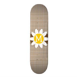 Daisy; Chocolate Brown Houndstooth Skate Board