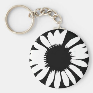 Daisy Crazy - Black & White Daisy Key Ring