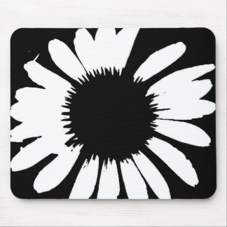 Daisy Crazy - Black & White Daisy Mouse Pad