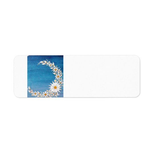 Daisy Crescent Moon Return Addresss Label Return Address Label