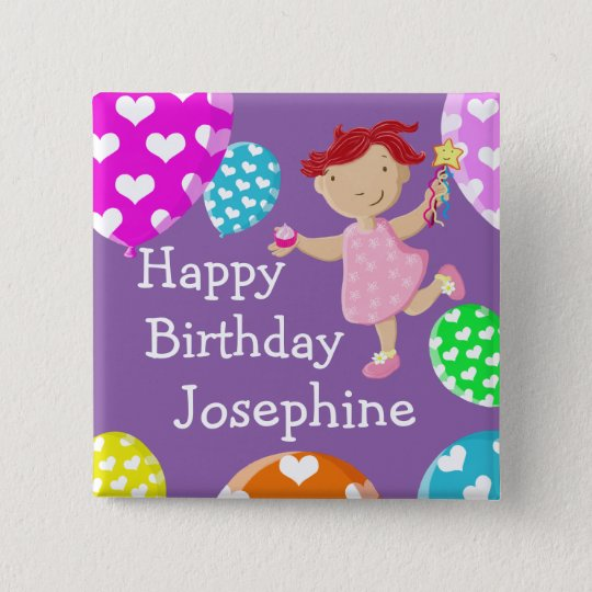Daisy Cupcake And Balloons Happy Birthday 15 Cm Square Badge