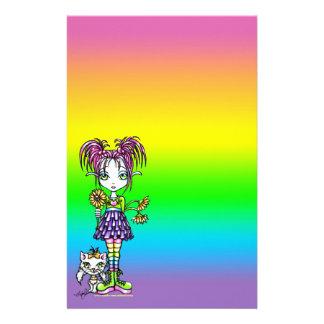 """""""Daisy"""" Cute Cat Rainbow Fairy Art Stationery"""