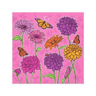 Daisy, dahlia & butterfly in pink, purple & orange canvas print