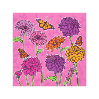 Daisy, dahlia & butterfly in pink, purple & orange stretched canvas print