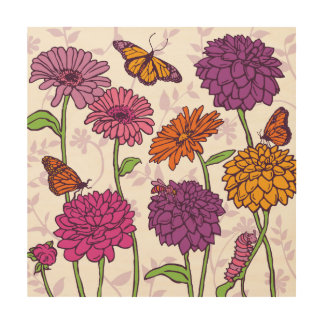 Daisy, Dahlia & butterfly in pink, purple & orange Wood Print