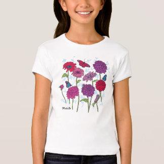 Daisy, dahlia & butterfly in pink, purple & red t T-Shirt