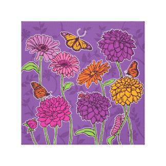 Daisy, dahlia & butterfly on purple canvas print