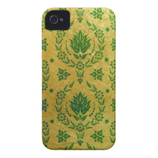 Daisy Damask, Brushed Metal in Green and Gold iPhone 4 Case
