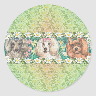 Daisy Dogs Toy Poodles Round Sticker