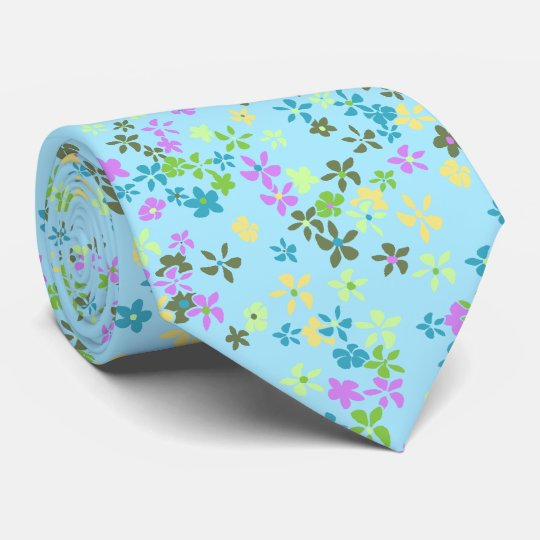 Daisy Dot Floral Aqua Two-sided Printed Tie