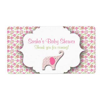 Daisy Elephant Baby Shower Water Bottle Label