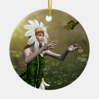 Daisy Fairy Round Ceramic Decoration