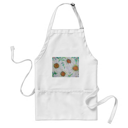 Daisy Field Watercolor Painting Apron