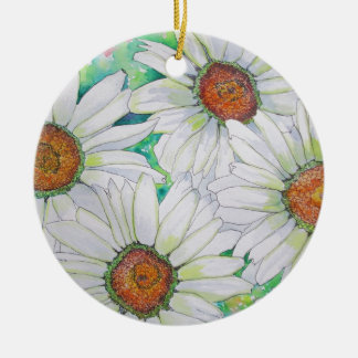 Daisy Field Watercolor Painting Round Ceramic Decoration