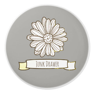 Daisy Flower Ceramic Knob