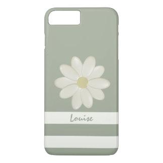 Daisy Flower Cream Stripes Sage Personalized iPhone 8 Plus/7 Plus Case