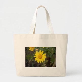 Daisy flower cu yellow large tote bag