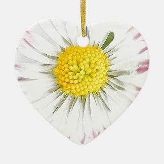 Daisy Flower Dble-sided Heart Ornanent Christmas Ornament