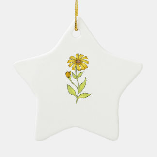 DAISY FLOWER Double-Sided STAR CERAMIC CHRISTMAS ORNAMENT