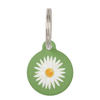 Daisy Flower Illustrated On Green With Dog's Info Pet Name Tag
