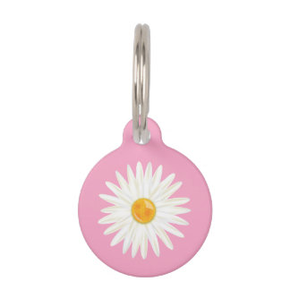 Daisy Flower Illustrated On Pink With Dog's Info Pet Name Tags