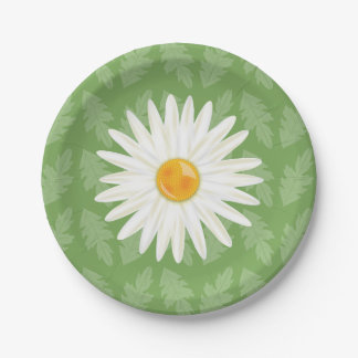 Daisy Flower Illustration On A Green Background 7 Inch Paper Plate