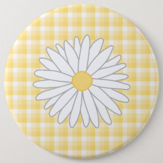 Daisy Flower in Yellow and White. 6 Cm Round Badge