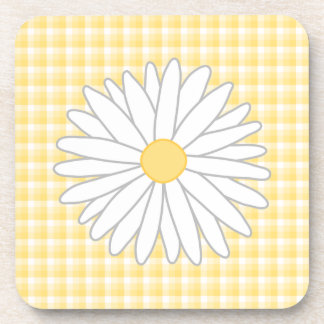 Daisy Flower in Yellow and White. Coaster
