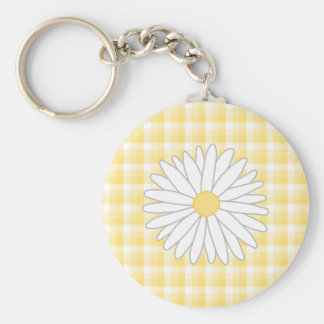 Daisy Flower in Yellow and White. Key Ring