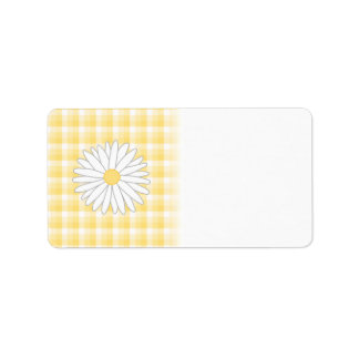 Daisy Flower in Yellow and White. Label