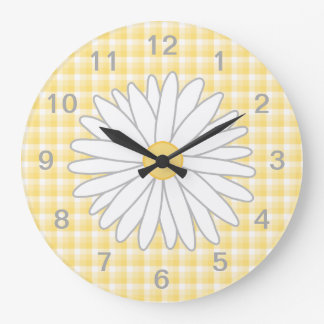Daisy Flower in Yellow and White. Large Clock