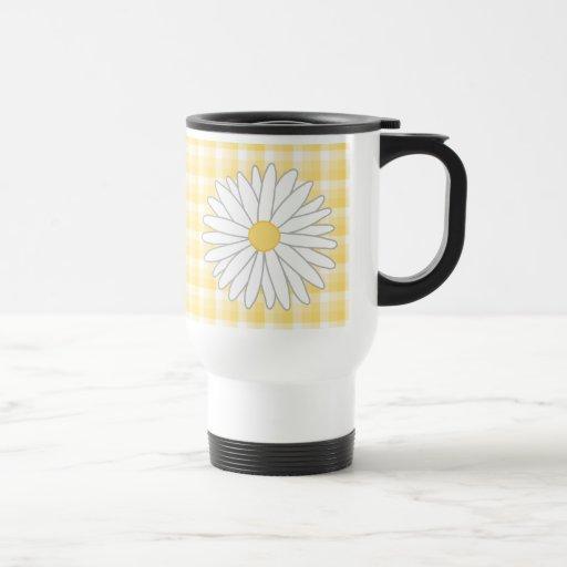 Daisy Flower in Yellow and White. Mugs