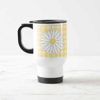 Daisy Flower in Yellow and White. Stainless Steel Travel Mug
