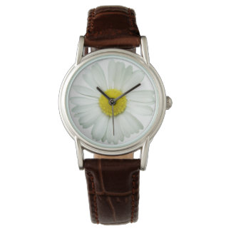daisy flower leather watch