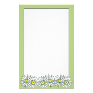 Daisy Flower Lime Green Letter Writing Paper