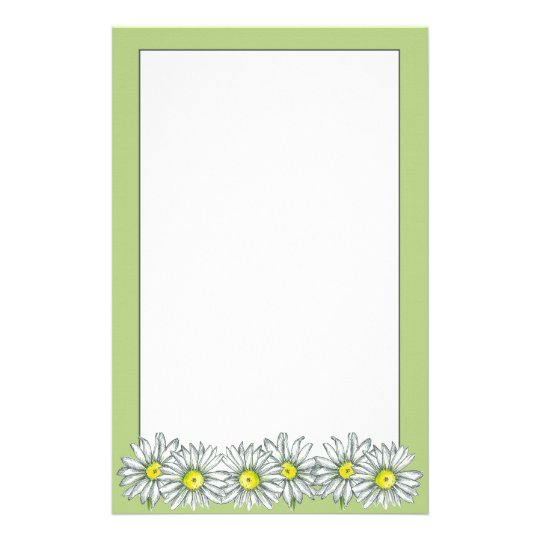Daisy Flower Lime Green Letter Writing Paper