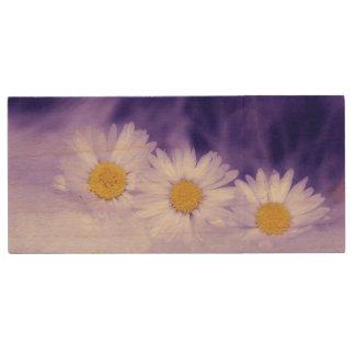 Daisy Flower Wood USB 2.0 Flash Drive