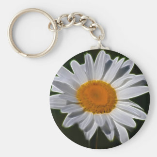 Daisy flower power basic round button key ring
