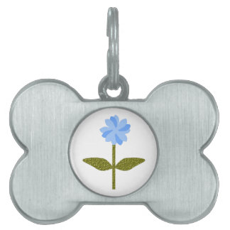 Daisy Flower Pretty Blue Pet Tag
