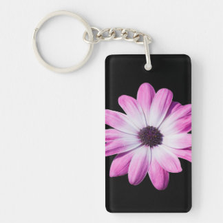 Daisy flower purple, pink beautiful photo Double-Sided rectangular acrylic key ring