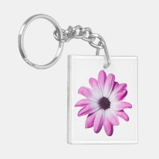 Daisy flower purple, pink beautiful photo Double-Sided square acrylic key ring